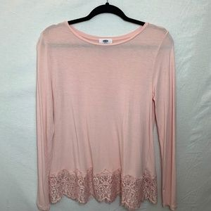 Pink Long Sleeve Shirt With Lace Trim